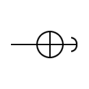 Symbol of the overhead line on wood stand and inclined retention