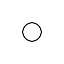 Overhead line on wood stand symbol