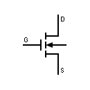 Symbol of MOSFET transistor, Enhancement type, 3 terminals